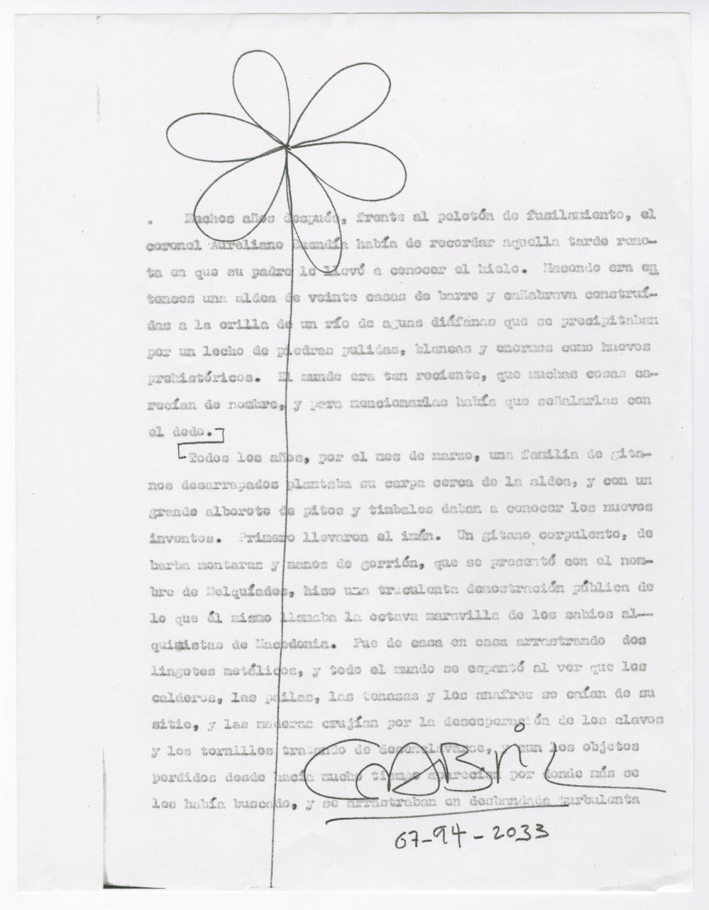 Drawn Flower on Page