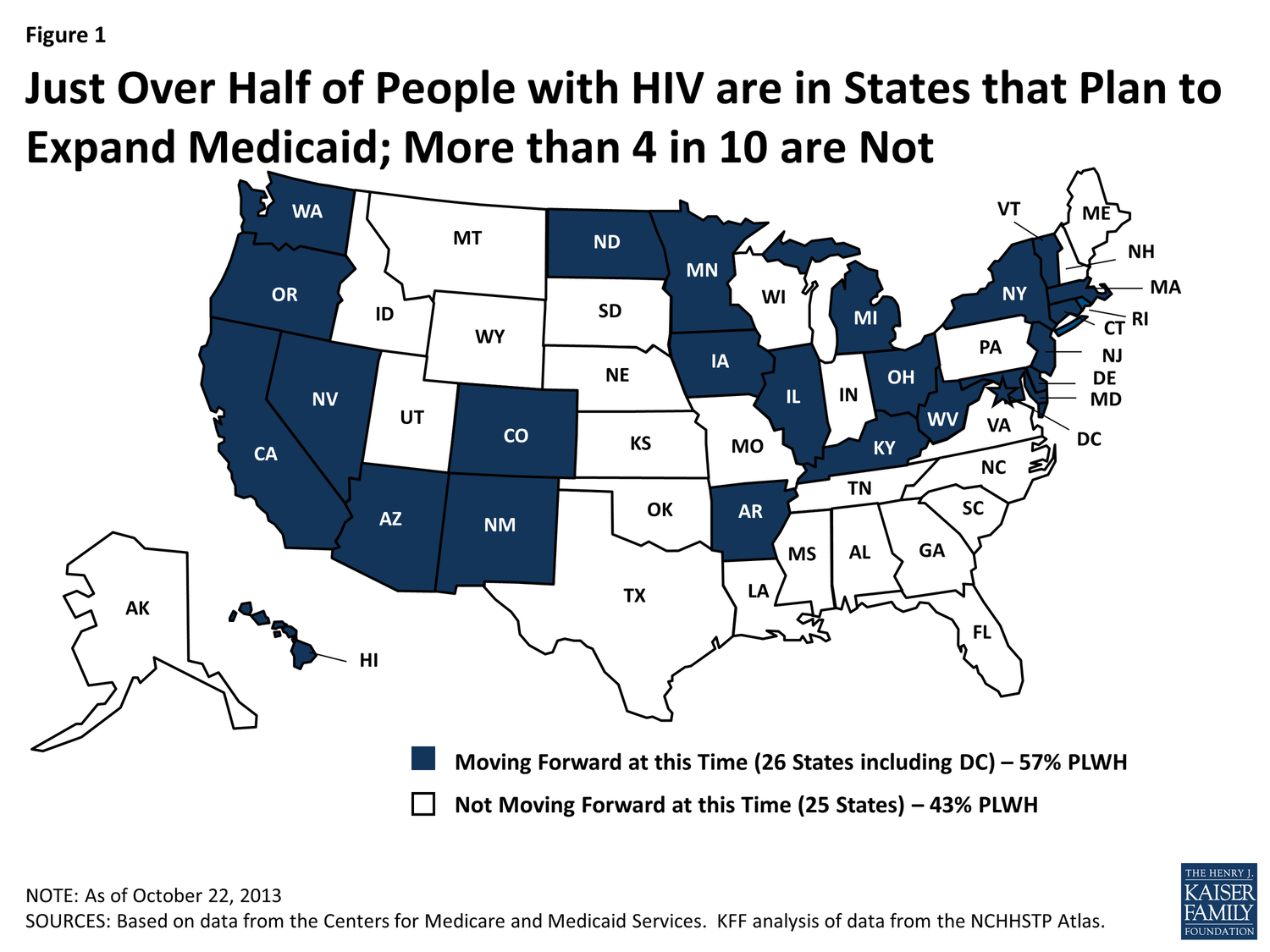 Map Showing in Blue States With Plans to Expand Medicaid